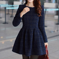 Purplish Blue Long Sleeve Skater Dress