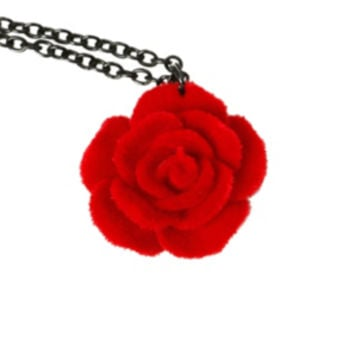LOVEsick Red Velvet Rose Necklace