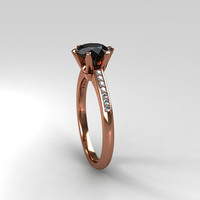 Black diamond ring, rose gold, Diamond, engagement ring, solitaire, black engagement, ring, micro pave, unique, gold engagement, custom