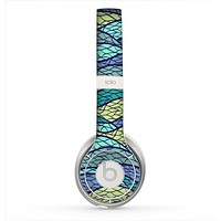 The Green and Blue Stain Glass Skin for the Beats by Dre Solo 2 Headphones
