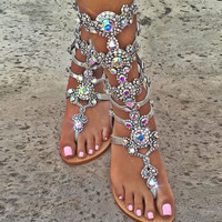 Shinning Rhinestone Thong Summer Flat Sandals