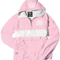 Monogrammed Pink and White Pullover Rain Jacket