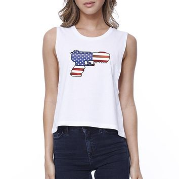 Pistol Shaped American Flag Unique Independence Day Womens Crop Tee