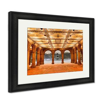 Framed Print, Bethesdterrace At Night Central Park