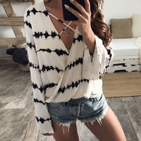 Lace Chiffon Summer Print Long Sleeve Tops [11582759119]