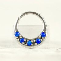 Septum Ring Nose Ring Septum Jewelry Body Blue Opal Stone Piercing  Sterling Silver Indian Style 14g 16g - SE027R SS OP50