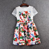 Casual Red Floral Mesh Sleeve Zipper Back Pleated Mini Skater Dress