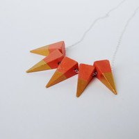 Geometric Wood bead necklace peach and gold triangles