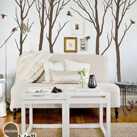 """Winter Trees Decal - Tree Wall Decal Wall Sticker - Tree Decals - Large: approx 93"""" x 108"""" - KC005"""
