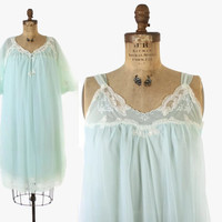 Vintage 60s Nightgown & Peignoir SET / 1960s Sheer Mint Nylon Lace Trim Nightie Robe S