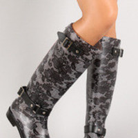 Women's Floral Print Knee High Rain Boots