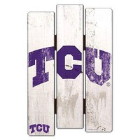 """TCU HORNED FROGS FENCE WOOD SIGN 11""""X17'' BRAND NEW  SHIPPING WINCRAFT"""