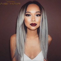 """26"""" Synthetic Ombre Grey Wig Long Straight Wig African American Wig For Black Women Heat Resistant Hair Cheap Cosplay Wig Peruca"""