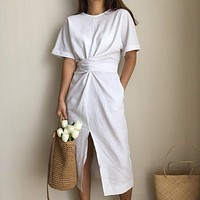 Women's Cotton Bodycon Vintage Long Dress Female Short Sleeve Bandage Vestidos Split Dresses