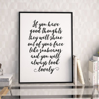 PRINTABLE Art,ROALD DAHL Quote,Good Thoughts Only,Good Vibes Only,Inspirational Quote,Motivational Print,Wall Art,Quote Print,Home Decor
