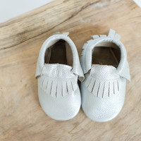 Baby Moccasins- Silver