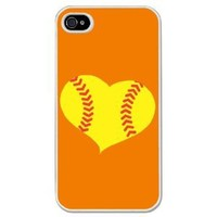 Softball Heart iPhone Case (iPhone 4/4S) with Orange Background