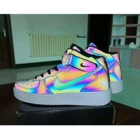 Nike AJ1 Cool Laser Reflective Shoes Air Force One Aurora Sneakers Chameleon Daredevil Couple Casual Sports Shoes