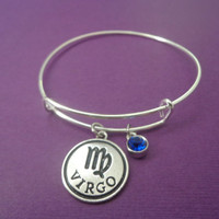 Zodiac Jewerly ~ Virgo Zodiac Bracelet , Sapphire Birthstone Jewelry , Birthstone gifts for her , Alex and Ani Inspired , Astrology Gifts