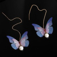 ES462 Long Tassel Drop Earrings Butterfly Simulated Pearls Fashion Jewelry boucle d'oreille Women Dangle Brincos Bohemian