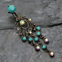 Turquoise Vintage Burnish Rustica Chandelier Belly Button Ring
