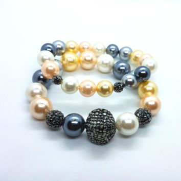 Multi Color Shell Pearl and Hematite Stretch Bracelet Set for Woman