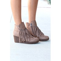 Candy Fringe Front Suede Wedge Bootie {Taupe} - Size 5