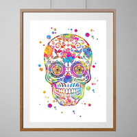 Skull Watercolor Print, Happy Skull Art Print, Mexican Skull giclee print, Home Decor, Wall Hanging, boho art, colorful skull [NO 208]