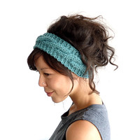 Cable Knit Headband in Sage 100% Merino Wool