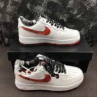 Morechoice Tuhz Nike Air Force 1 07 Lv8 White Red Low Sneakers Casual Skaet Shoes Cj2826-178