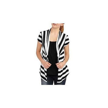 Juniors Cap Sleeve Flyaway Cardigan 2Fer, Black/White Stripe, Medium (7-9) No B