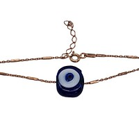 Bar Cahin with colorful evil eye Handmade Glass Hand Crafted Bracelet Solid 925 Sterling Silver