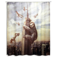 Multi-colored Slothzilla Shower Curtain   Overstock.com Shopping - The Best Deals on Bath Accessories