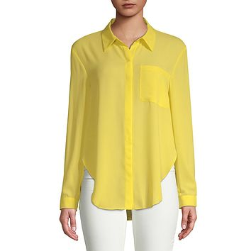 T Tahari Womens Jazzie Button-Down Long Sleeves Blouse