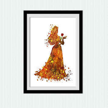 Cinderella poster Cinderella watercolor print Disney colorful poster Home decoration Kids room decor Nursery room poster Birthday gift W421