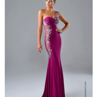 Preorder - Nina Canacci Magenta One Shoulder Gown Prom 2015
