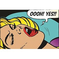 pop art GIRL - OOOH YES classic poster BRIGHT SEXY unique COLLECTORS 24X36