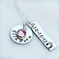 Hand Stamped Necklace - New Baby Necklace - Sterling Silver Personalized Necklace - Gift for Mom