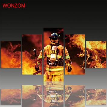 Firefighter Canvas Painting 5Pcs Wall Art Poster Put Out The Fire Wall Pictures For Home Decoration 2017 Cuadros Abstractos Gift