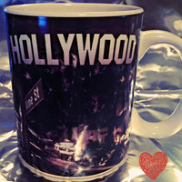 Hollywood coffee mug glass rare and hard to find Vine St. Hollywood Blvd. sign Capital Records Stars Hall of Fame