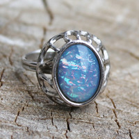 Vintage Sarah Coventry Silver Ring with Opal Like Stone