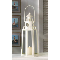 Creamy Ivory White Contemporary Nautical Lighthouse Candle Holder Lantern