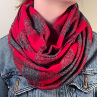 Handmade Infinity Scarf Plaid Flannel - Women,  Men, Double  Layer Circle Scarf -  Red and Gray Check, Christmas Present, Holiday Gift