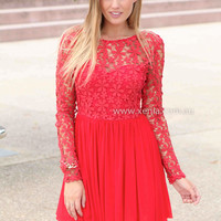 SPLENDED ANGEL 2.0 DRESS , DRESSES, TOPS, BOTTOMS, JACKETS & JUMPERS, ACCESSORIES, 50% OFF , PRE ORDER, NEW ARRIVALS, PLAYSUIT, COLOUR, GIFT VOUCHER,,Print,LACE,Red,LONG SLEEVES,MINI Australia, Queensland, Brisbane