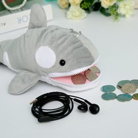 Cartoon Whale Plush Coin Purse Pencil case Stationery Pen Bag Big Capacity Ocean Park Toy