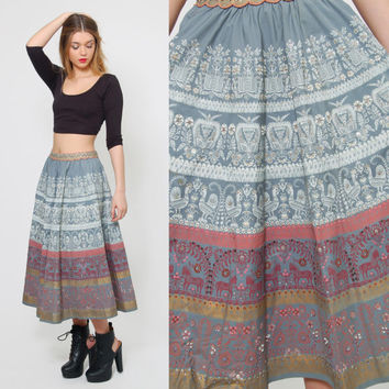 Vintage 50s PAINTED Circle Skirt Sequin Folk Print Swing Skirt Deadstock Studio CASA SILVA Italian Skirt