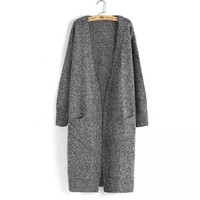 None-Button Sleeve Knitted Long Coat