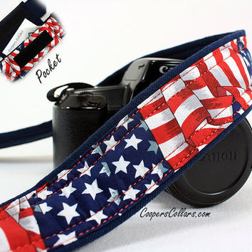 Stars and Stripes too, Flag dSLR Camera Strap with Pocket, Red White and Blue, SLR