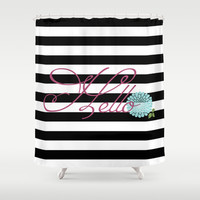 Modern Chic Floral Hello Shower Curtain by Doucette Designs