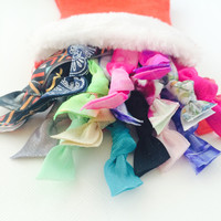20 Assorted Hair Ties-Ponytail Holders Collection in a Cute Red Stocking